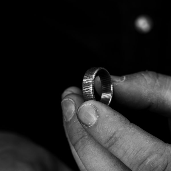 Stainless Steel Damascus Ring – Low Profile
