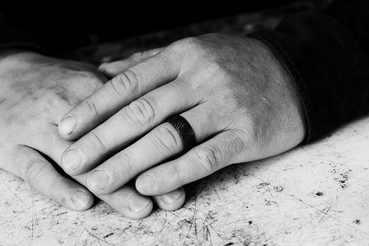 Mild Steel Damascus Ring – Flat Profile