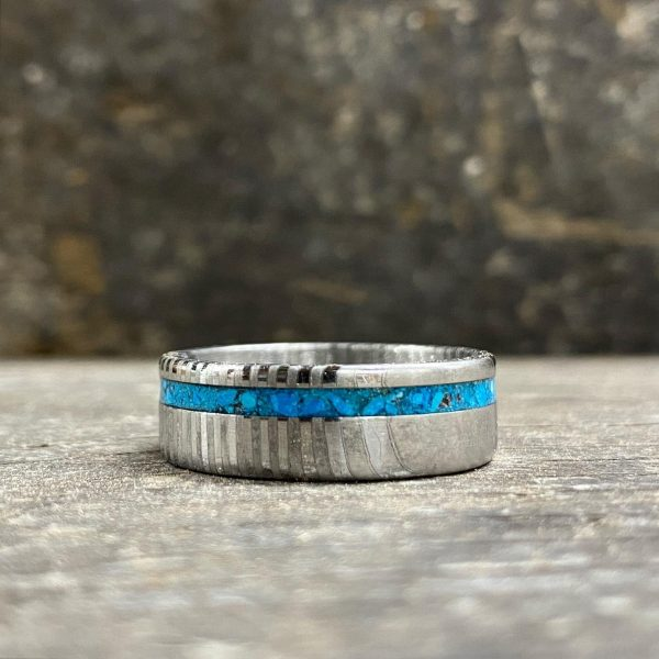 Turquoise Damascus Steel Ring