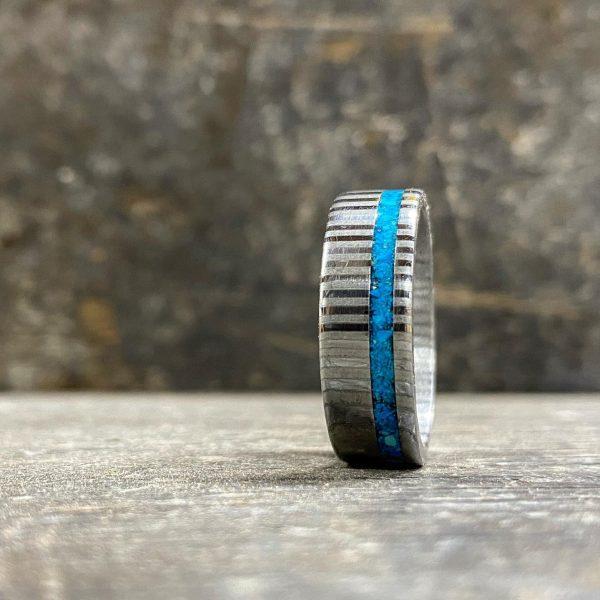 Turquoise Damascus Steel Ring